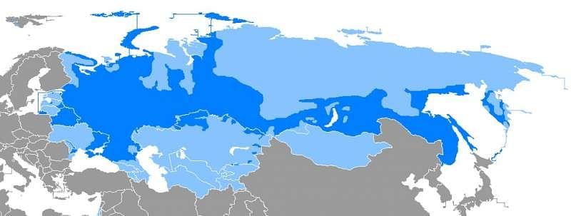 Map of regions where Russian is a majority (dark blue) or minority (light blue) language